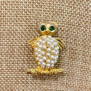 Vintage Owl Pin with Pearls